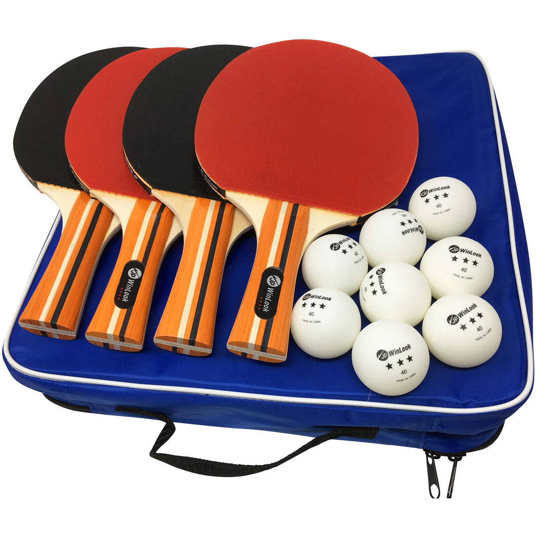JP WinLook Ping Pong Paddle - 4 Player Pack; Pro Premium Table Tennis Racket Set; Good Spin; 8 Professional Game Balls; Accessories Racquets Bat Bundle Kit; Portable Cover Case; Indoor Outdoor