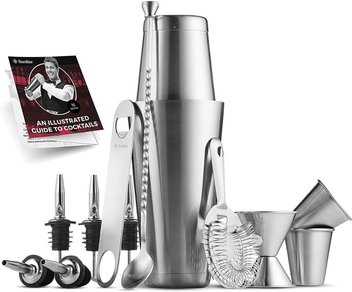 14-Piece Cocktail Shaker Set - Bar Tools - Stainless Steel Cocktail Shaker Set Bartender Kit, With All Bar Accessories, Cocktail Strainer, Double Jigger, Bar Spoon, Bottle Opener, Pour Spouts.