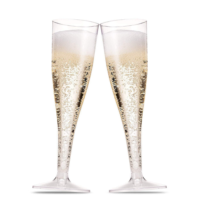 100 Pack Plastic Champagne Flutes 5 Oz Clear Plastic Toasting Glasses Disposable