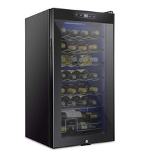 Load image into Gallery viewer, Schmecke 28 Bottle Compressor Wine Cooler Refrigerator w/Lock | Large Freestanding Wine Cellar | 41f-64f Digital Temperature Control Wine Fridge For Red, White, Champagne or Sparkling Wine - Black