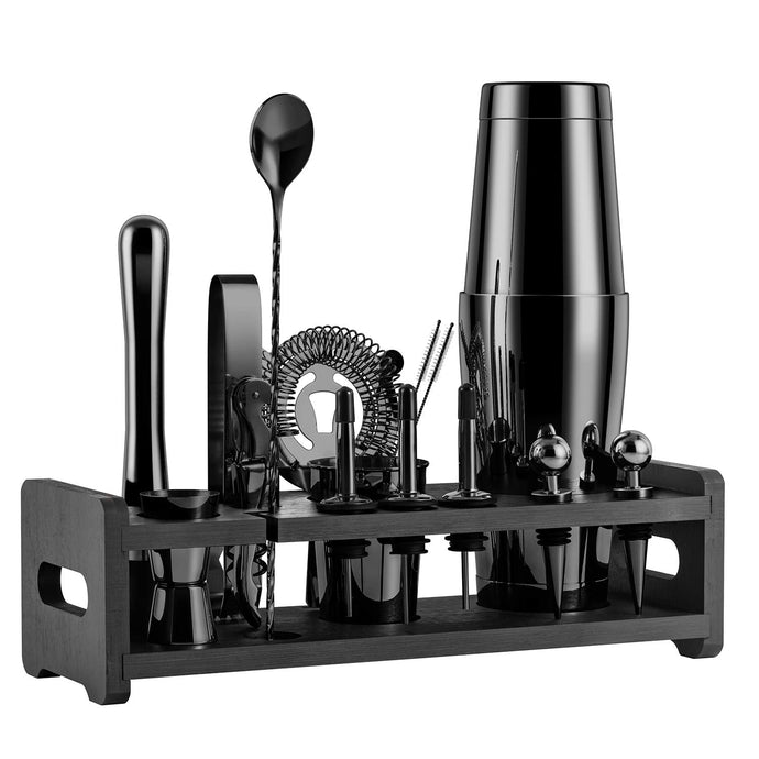 Soing 24-Piece Cocktail Shaker Set,Perfect Home Bartender Kit for Drink Mixing,Stainless Steel Bar Tools With Stand,Velvet Carry Bag & Recipes Cards Included (Black) Black