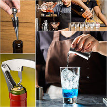 Load image into Gallery viewer, 18 Pcs Bartender Kit Cocktail Shaker Set with Stand, RATEL Stainless Steel Professional Bar Tool, Cocktail Martini Shaker Kit Including Shaker, Muddler, Jigger, Strainer, Recipes Booklet