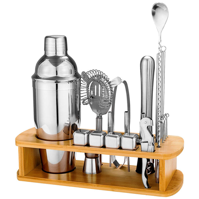 25 Piece Cocktail Shaker Set with Bamboo Stand,Gifts for Men Dad Grandpa,Stainless Steel Bartender Kit Bar Tools Set for Christmas Gift,Home, Bars, Parties and Traveling (Silver) Silver