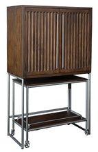 Load image into Gallery viewer, Howard Miller Bar Cart Wine & Bar Cabinet 695-222 – Distressed Medium Brown Finish, Home Liquor Storage, Portable Serving Console, Four Wheel Casters, Stemware Rack