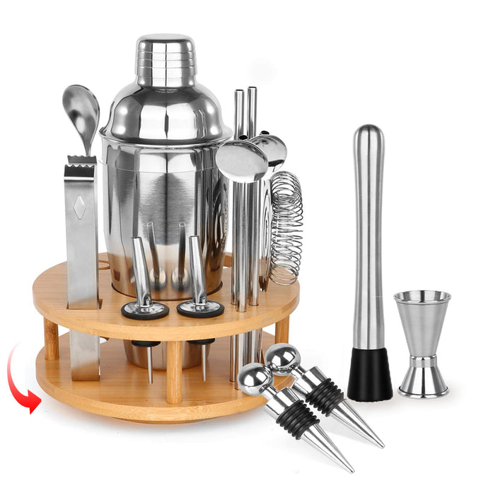Bartender Kit 24oz Bar Shaker Gift Set 17 Piece with Rotating Stand, SUPERSUN Home Bar Set with Built-in Strainer, Muddler, Jigger, Drink Shaker 304 Stainless Steel