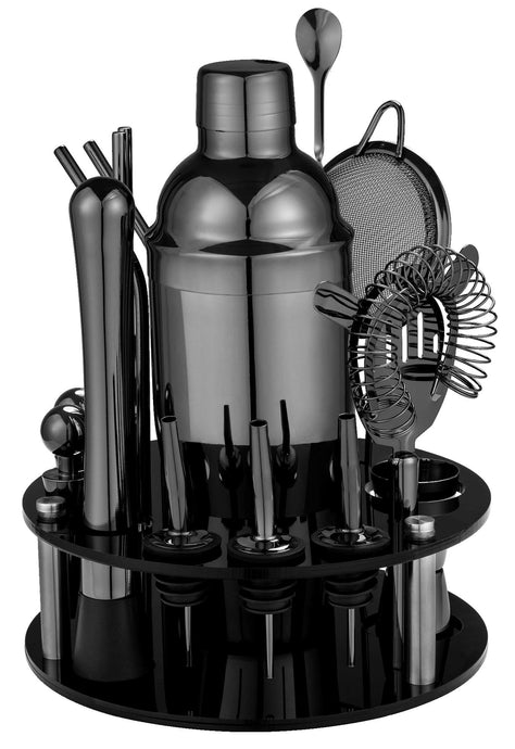 18 Piece Cocktail Shaker Set with Rotating Stand,Gifts for Men Dad Grandpa,Stainless Steel Bartender Kit Bar Tools Set for Christmas Gift,Home, Bars, Parties and Traveling (Gun-Metal Black) Gun-Metal Black
