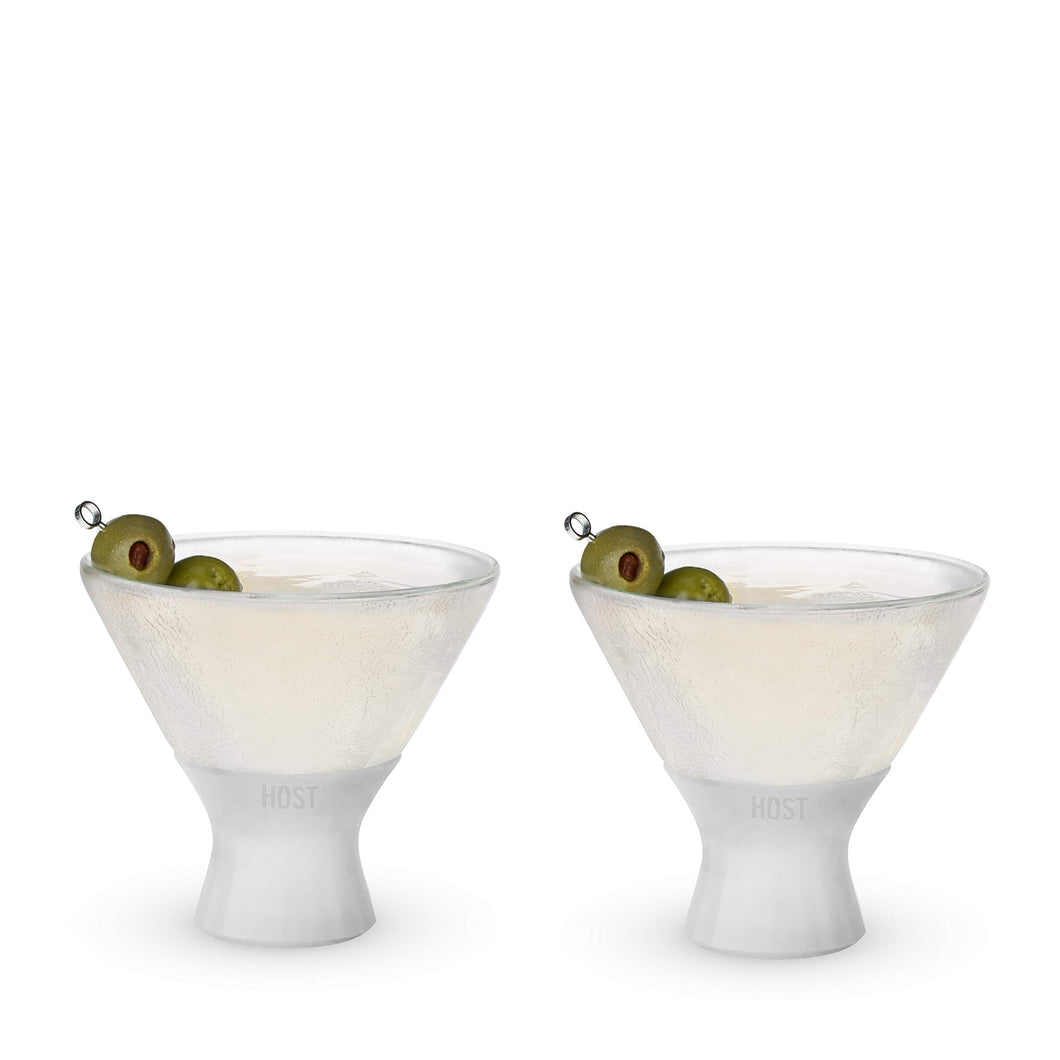 HOST Glass FREEZE Martini (set of two) Freezer Gel Chiller Double Wall Stemless Cocktail, Set of 2, 8.5 oz