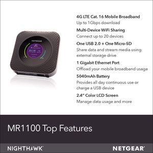 NETGEAR Nighthawk M1 Mobile Hotspot 4G LTE Router MR1100-100NAS - Up to 1Gbps Speed | Connect Up to 20 Devices | Create WLAN Anywhere | Unlocked to Use Any Sim Card-Contact Your Carrier for Data Plan LTE Mobile Hotspot 1 Gbps