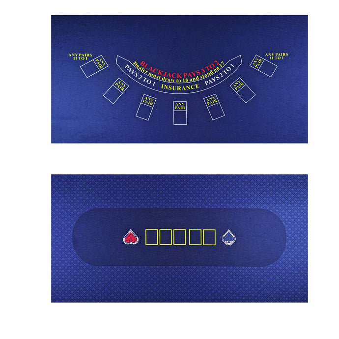 BALIKEN Tabletop Casino Felt for Texas Holdem Poker and Blackjack - Professional Grade Mat DOUBLE BLUE