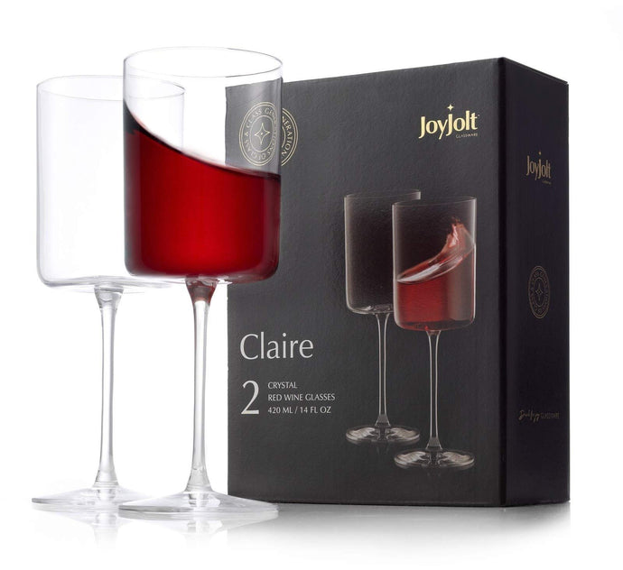 JoyJolt Red Wine Glasses – Claire Collection Set of 2 Large Wine Glasses – 14-Ounce Crystal Wine Glass Set – Ultra-Elegant Design with Wide Rims – Ideal for Special Occasions, Home Bar