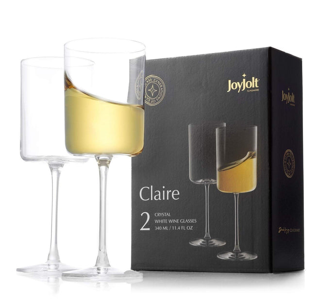 JoyJolt White Wine Glasses – Claire Collection 11.4 Ounce Wine Glasses Set of 2 – Deluxe Crystal Glasses with Ultra-Elegant Design – Ideal for Home Bar, Kitchen, Restaurants