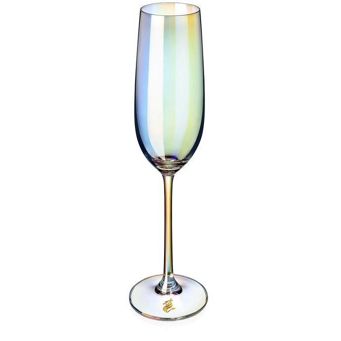 Dragon Glassware Champagne Flutes, Stemmed Iridescent Lead-Free Crystal, 8-Ounce, Set of 2