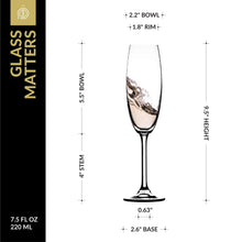 Load image into Gallery viewer, Champagne Glasses - Lead Free Titanium Crystal Sparkling Wine Glass, 7.5 oz. Elegant Fluted Glassware - For Weddings, Parties and Special Celebrations – Set of 3