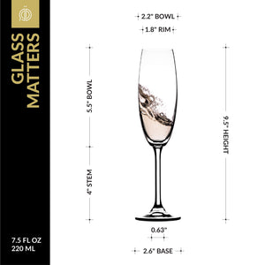Champagne Glasses - Lead Free Titanium Crystal Sparkling Wine Glass, 7.5 oz. Elegant Fluted Glassware - For Weddings, Parties and Special Celebrations – Set of 3