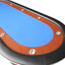 Load image into Gallery viewer, IDS POKER Poker Table for 10 Players Oval 96 x 43 Inch Racetrack Cup Holders Blue Speed Cloth Stainless Pedestal Base