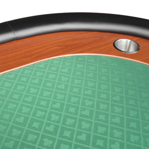 IDS POKER Poker Table for 10 Players Oval 96 x 43 Inch Racetrack Cup Holders Green Speed Cloth Stainless Pedestal Base