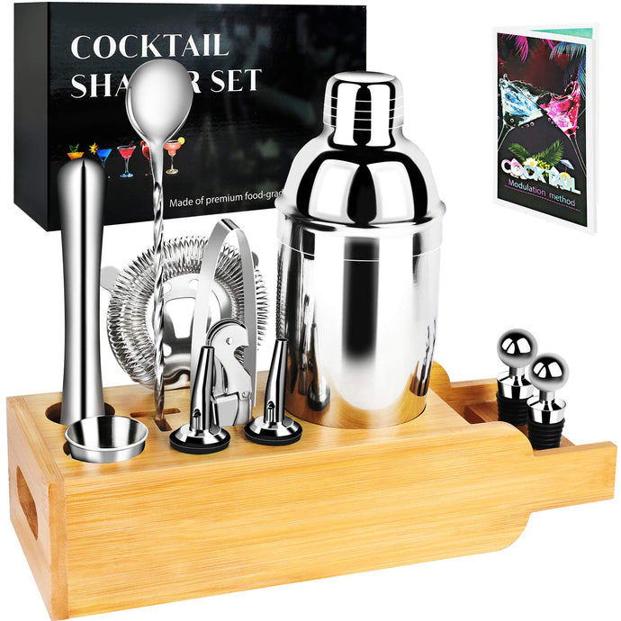 Bartender Kit Cocktail Shaker Set - 12-Piece Bar Set with Bamboo Stand, Stainless Steel Martini Shaker Set for a Wonderful Mixing Experience, Present for Drink Making