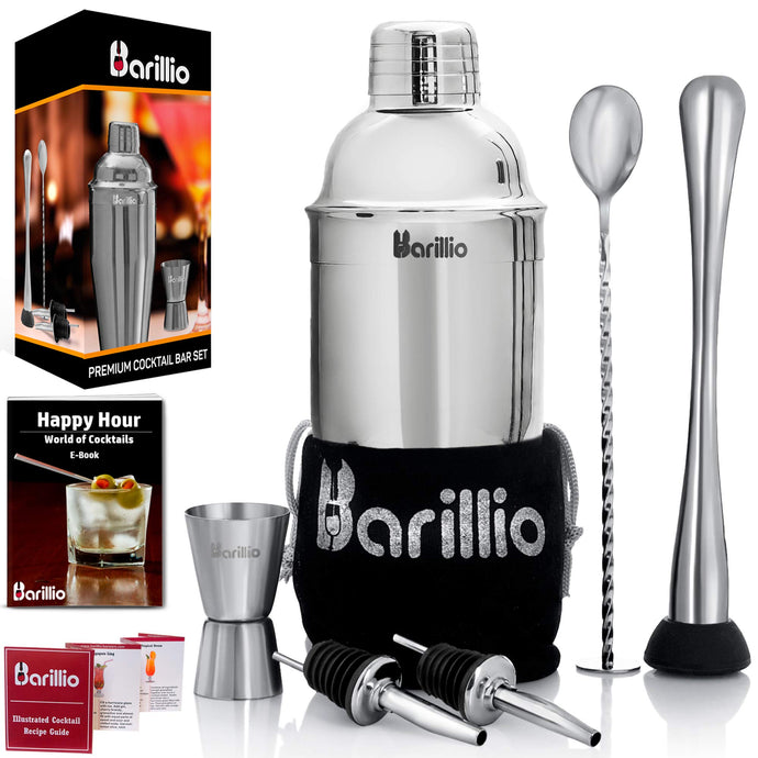 Elite Cocktail Shaker Set Bartender Kit by BARILLIO: 24 oz Stainless Steel Martini Mixer, Muddler, Mixing Spoon, jigger, 2 liquor pourers, Velvet Bag, Recipes Booklet & eBook Silver