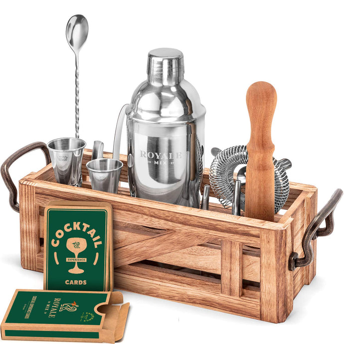 11 Piece Mixology Bartender Kit with Rustic Stand - Bar Set Cocktail Shaker Set with Cocktail Kit Cards - Premium Bar Kit for a Fun Cocktail Set Gift - Stainless Steel Bartender Set - Bar Tool Set