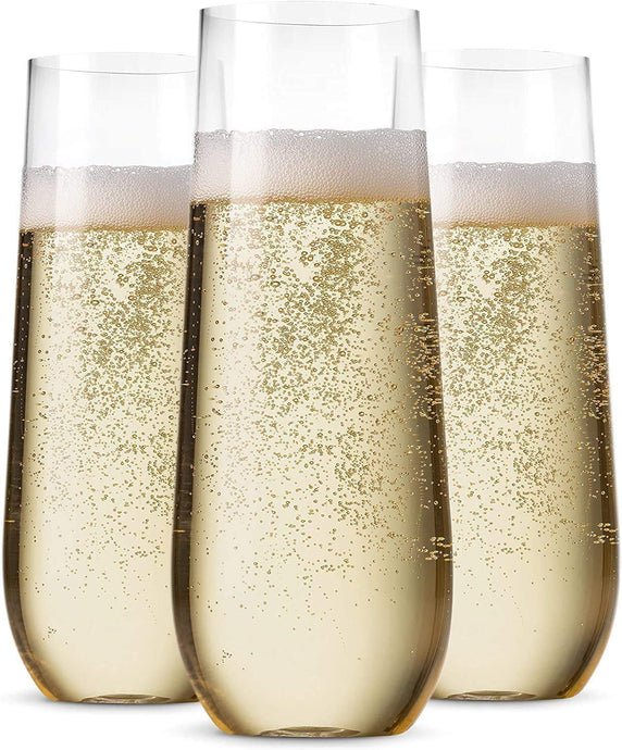 36 Pack Stemless Plastic Champagne Flutes Disposable 9 Oz Clear Plastic Toasting Glasses Shatterproof Recyclable and BPA-Free