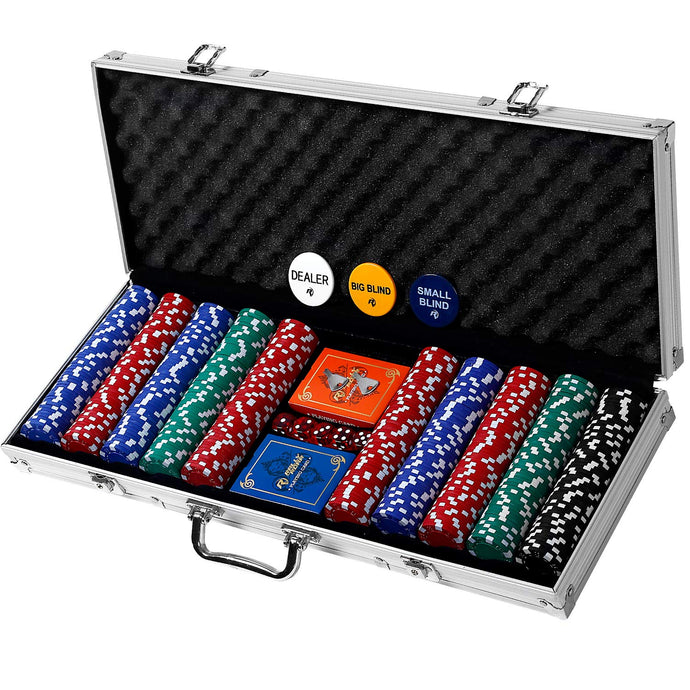 Professional 200, 300 or 500 Chips (11.5g) Poker Set with Case by Rally & Roar – 3 OPTIONS - Complete Poker Playing Game Sets with Casino Style Chips, Cards, Dice, Aluminum Color Case & Keys