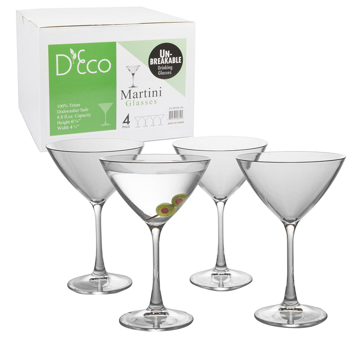 Unbreakable Stemmed Martini Glasses, 12oz - 100% Tritan - Shatterproof, Reusable, Dishwasher Safe Drink Glassware (Set of 4)- Indoor Outdoor Drinkware - Great St. Patrick Day and Wedding Gift 4 Pack