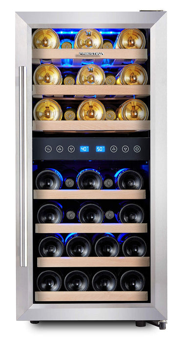 Phiestina Dual Zone Wine Cooler Refrigerator - 33 Bottle Free Standing Compressor Fridge and Chiller for Red and White Wines - 16'' Glass Door Wine Refrigerator with Digital Memory Temperature Control 30 bottle