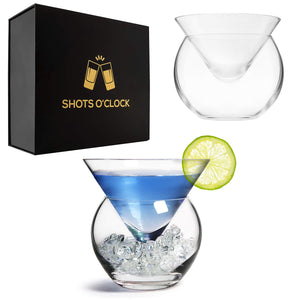 LEMONSODA Stemless Martini Glasses with Chiller Set of 2 - Elegant Cocktail Glasses Set with Cavier Server Bowl - Beautiful Bar Martini Glass Gift Set for Margarita, Cosmopolitan, Manhattan Cocktails