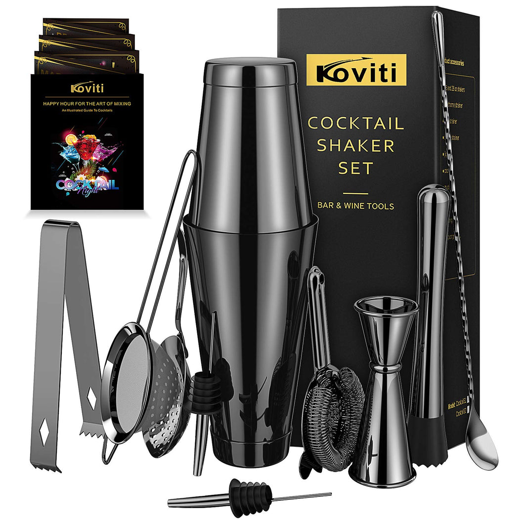 Cocktail Shaker - Koviti 12 Piece Bartender Kit - Stainless Steel Cocktail Shaker Set, Premium Bar Tools : Martini Shaker, Muddler, Jigge, Mixing Spoon, Strainers, Ice Tong, Liquor Pourers Black