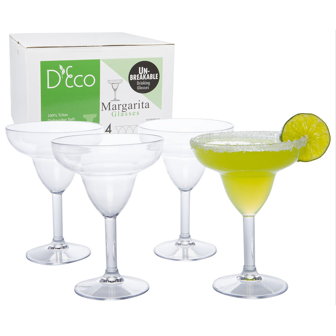 Unbreakable Stemmed Margarita Glasses, 12oz - 100% Tritan - Shatterproof, Reusable, Dishwasher Safe Drink Glassware (Set of 4)- Indoor Outdoor Drinkware - Great St. Patrick and Wedding Gift