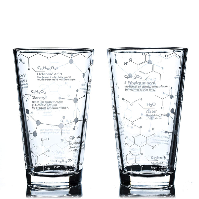 Greenline Goods Beer Glasses - 16 oz Pint Glass (Set of 2) – Science of Beer Glassware - Etched with Beer & Hops Chemistry Molecules Set of 2