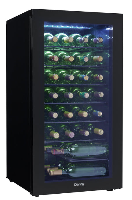 Danby DWC036A2BDB-6 3.3 Cu. Ft. Free Standing Wine Cooler, Holds 36 Bottles, Single Zone Drinks Fridge with Glass Door-Beverage Chiller for Kitchen, Home Bar, in Black