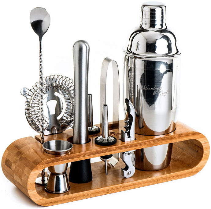 Mixology Bartender Kit: 10-Piece Bar Tool Set with Stylish Bamboo Stand | Perfect Home Bartending Kit and Martini Cocktail Shaker Set For an Awesome Drink Mixing Experience (Silver)