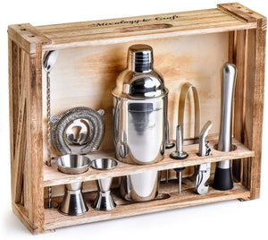 Mixology Bartender Kit: 11-Piece Bar Tool Set with Rustic Wood Stand - Perfect Home Bartending Kit and Cocktail Shaker Set For an Awesome Drink Mixing Experience (Silver) Silver