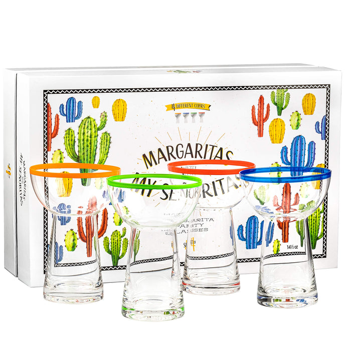 Large 14.5 oz Stemless Margarita Glasses + Colored Party Rims | Set of 4 | Heavy Duty, Thick, Hand Blown Glassware for Cocktail, Frozen Drink, Slushy + Fun Colorful Mexican Cactus Gift Box