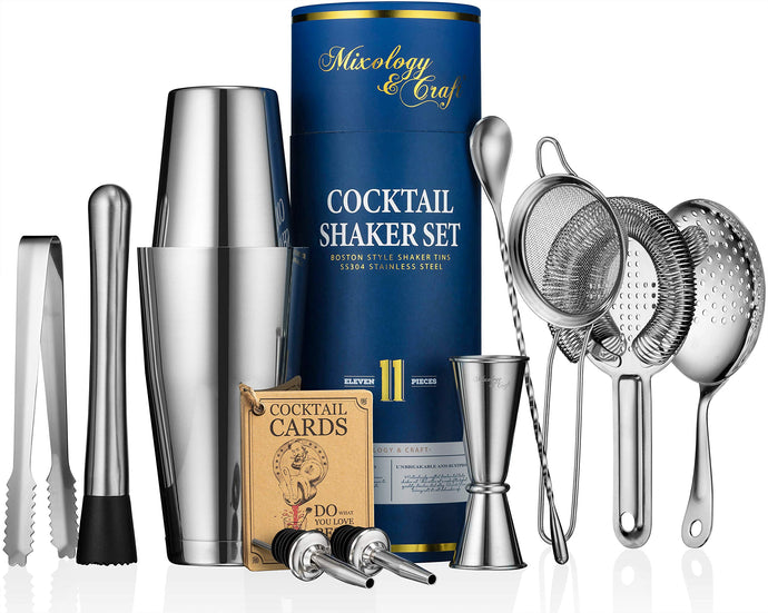 11-piece Cocktail Shaker Set | Mixology Bartender Kit with Weighted Boston Shaker and Bar Tools Set For Home or Professional Bartending | Best Cocktail Set for Awesome Drink Mixing Experience (silver) Silver