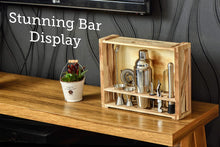 Load image into Gallery viewer, Mixology Bartender Kit: 11-Piece Bar Tool Set with Rustic Wood Stand - Perfect Home Bartending Kit and Cocktail Shaker Set For an Awesome Drink Mixing Experience (Silver) Silver