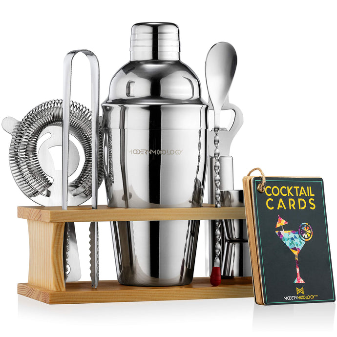 Mixology Bartender Kit with Stand | Bar Set Cocktail Shaker Set for Drink Mixing - Bar Tools: Martini Shaker, Jigger, Strainer, Bar Mixer Spoon, Tongs, Bottle Opener | Best Bartender Kit for Beginners 1.Silver