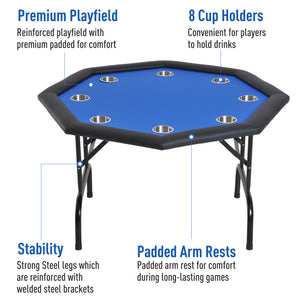 Soozier 3.9ft 8 Player Octagon Poker Table with Cup Holders Folding Blue Top