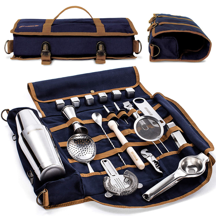 Mixology Bartender Kit - 22 Pieces Complete Barware Tool Sets with Cocktail Shaker | Bar Tools Bartender Tool Kit in Foldable Canvas Bag - Travel Bar