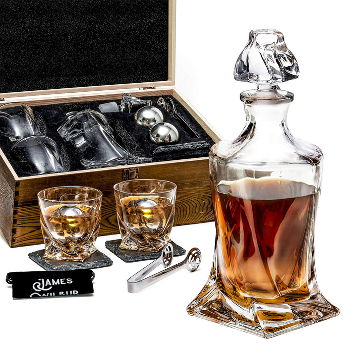 Whiskey Decanter Set By James Wilbur - Includes Whiskey Decanter, 2 Whiskey Glasses, 2 Whiskey Balls, Premium Tongs, 2 Coasters, Freezer Pouch All In A Pinewood Box