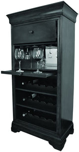 Bar Cabinet With Wine Rack - Black