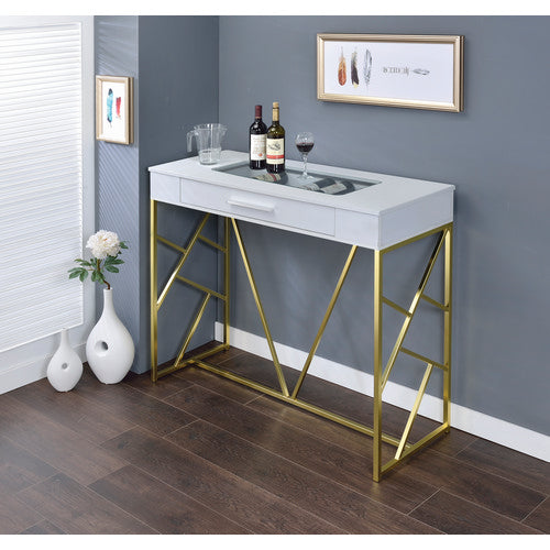 Garry contemporary white, gold bar wine table