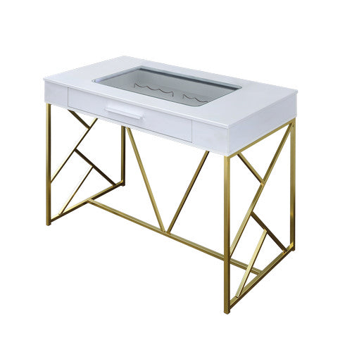Kris Contemporary Counter Height Single Drawer Wine and Bar Table In Champagne And Brass