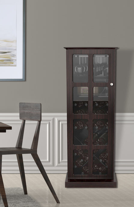 Atlantic Windowpane 24-Bottle Wine Cabinet, Espresso Brown Windowpane 24 Wine C