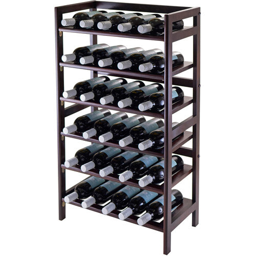 Winsome Wood Silvi 30-Bottle Wine Display Rack, Antique Walnut Finish Brown 21.49