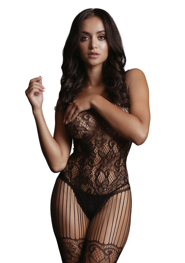 Renee - Lace And Fishnet Bodystocking - Zwart