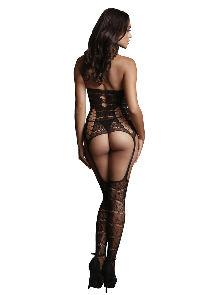 Giovanna - Lace Suspender Bodystocking - Zwart