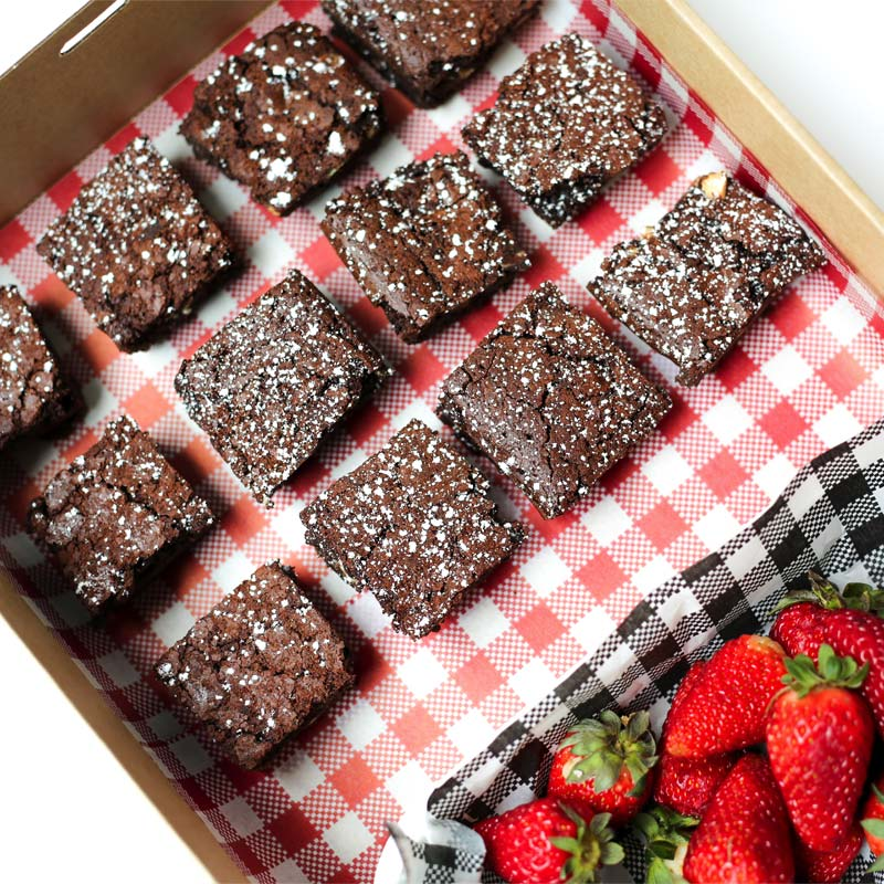 Brownie and Strawberry Platter
