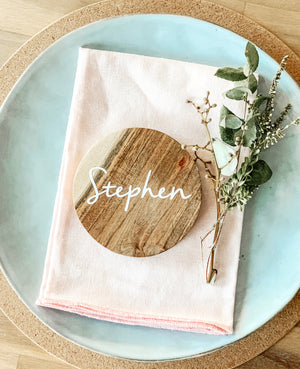 Open image in slideshow, TIMBER NAME PLACE COASTERS - ROUND